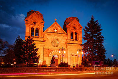 Facade Of Cathedral Basilica Of Saint Francis Of Assisi At Twilight- Santa Fe New Mexico Art Print