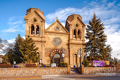 Facade Of Cathedral Basilica Of Saint Francis Of Assisi - Santa Fe New Mexico Art Print by Silvio Ligutti