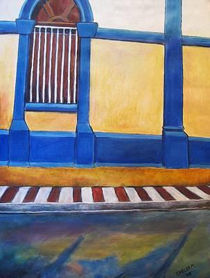 Nicaragua Painting - Facade Of Colonial Home Granada by Carlos Morales