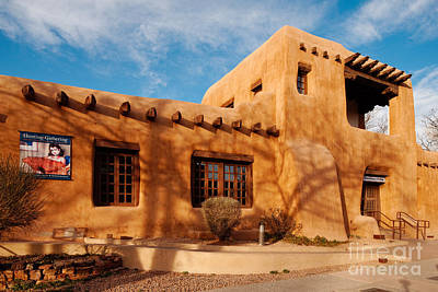 Facade Of New Mexico Museum Of Art II - Santa Fe New Mexico Art Print by Silvio Ligutti