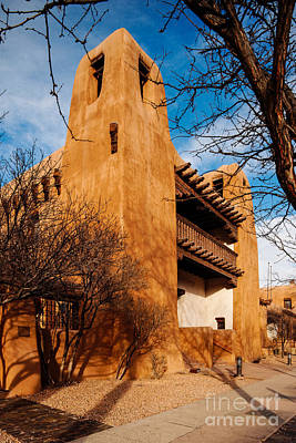 Facade Of New Mexico Museum Of Art - Santa Fe New Mexico Art Print by Silvio Ligutti