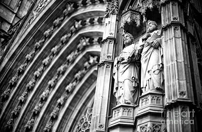 Photograph - Facade Statues At The Barcelona Cathedral by John Rizzuto