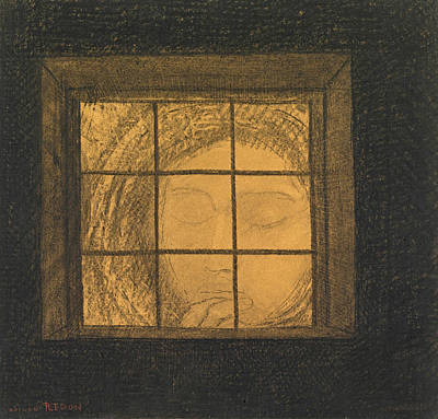 Drawing - Face Behind A Window  by Odilon Redon