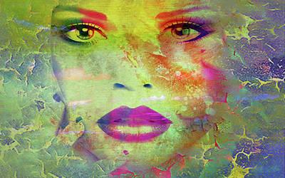Digital Art - Face Crackle by Greg Sharpe