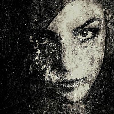 Face In A Dream Grayscale Art Print by Marian Voicu