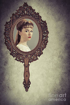 Face In Antique Mirror Art Print