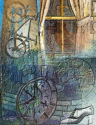 Face In The Window Embossed Montage Print by Arline Wagner