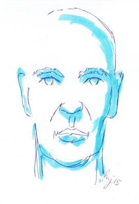 Drawing - Face Of A Man Illustration - Blue Line Drawing by Mike Jory