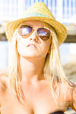 Face Of A Woman In Sunglasses On Holiday Art Print
