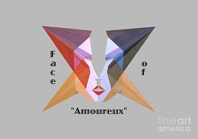 Painting - Face Of Amoureux Text by Michael Bellon