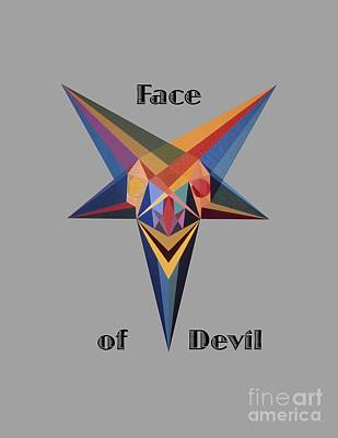 Painting - Face Of Devil Text by Michael Bellon