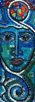 Fused Glass Mixed Media - Face Of Light  by Helen mclean