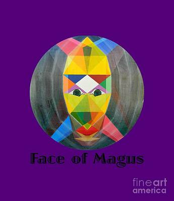 Painting - Face Of Magus Text by Michael Bellon