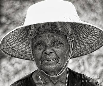 Digital Art - Face Of Rural Thailand B/w by Ian Gledhill