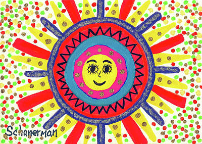Uplifting Drawing - Face Of The Sun by Susan Schanerman
