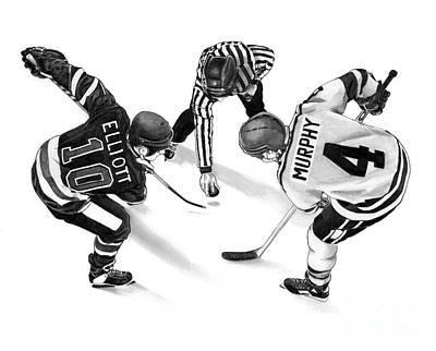 Hockey Drawing - Face Off by Murphy Elliott