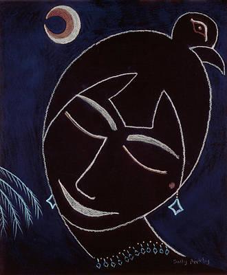 Face On Black Art Print by Sally Appleby