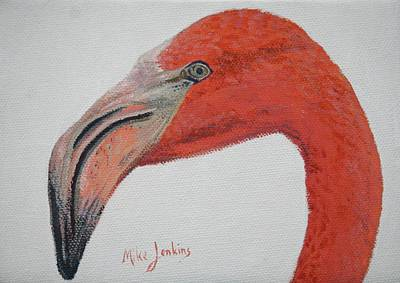 Painting - Face To Face With Flamingo by Mike Jenkins