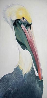 Painting - Face To Face With Pelican by Mike Jenkins