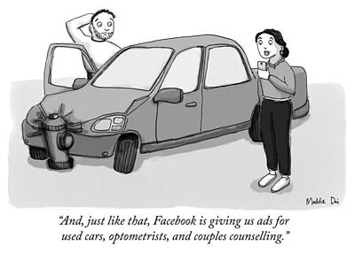 Drawing - Facebook Is Giving Us Ads For Used Cars by Maddie Dai