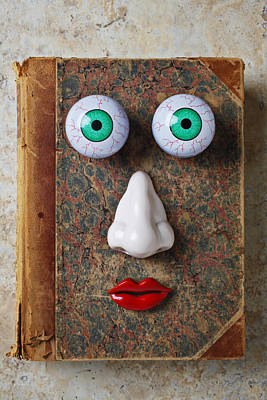 Facebook Old Book With Face Art Print by Garry Gay