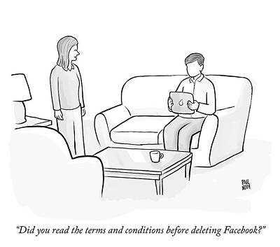 Social Media Drawing - Facebook Terms And Conditions by Paul Noth