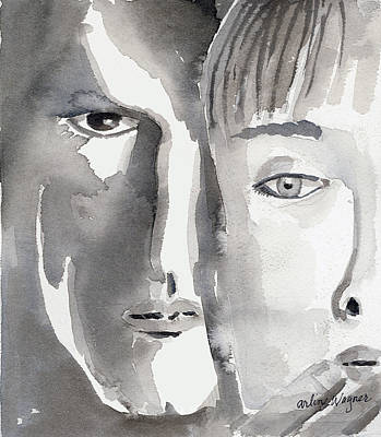 Monotone Painting - Faces by Arline Wagner