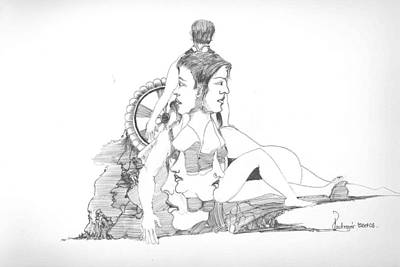 Art Print featuring the drawing Faces Bodies And Other Forms by Padamvir Singh