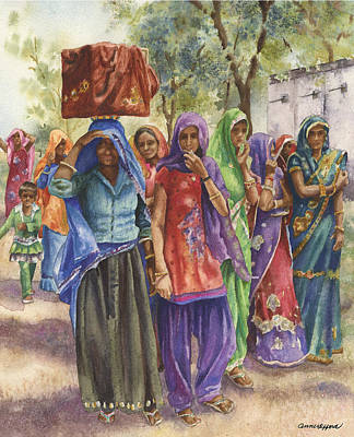 Indian Cultural Painting - Faces From Across The World by Anne Gifford