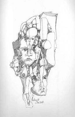 Abstract Forms Drawing - Faces In Stone by Padamvir Singh