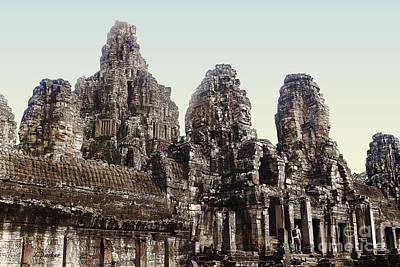 Faces Of Angkor Thom - 2 Art Print by Linda Parker