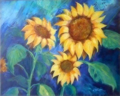 Lynn Burton Wall Art - Painting - Faces Of The Sun by Lynn Burton