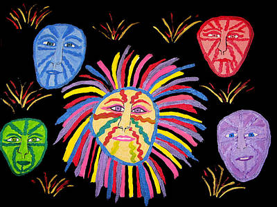 Faces Out Of The Dark  Art Print by Betty  Roberts