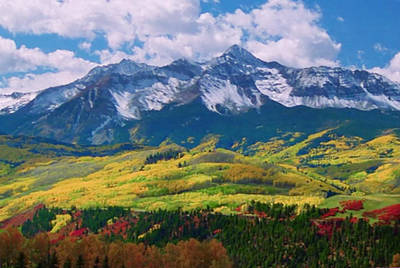 Facinating American Landscape Flowers Greens Snow Mountain Clouded Blue Sky  Art Print