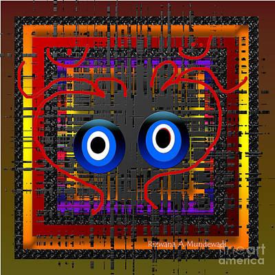 Digital Art - Facing Each Other Two Om by Rizwana Mundewadi