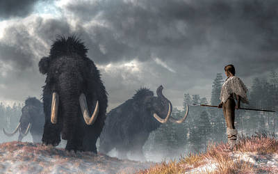 Prehistoric Digital Art - Facing The Mammoths by Daniel Eskridge