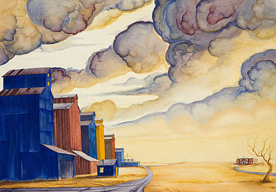 Grain Elevator Painting - Facing The Storm by Scott Kirby