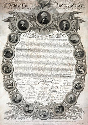 Independence Drawing - Facsimile Of The Original Draft Of The Declaration Of Independence 1776 by American School