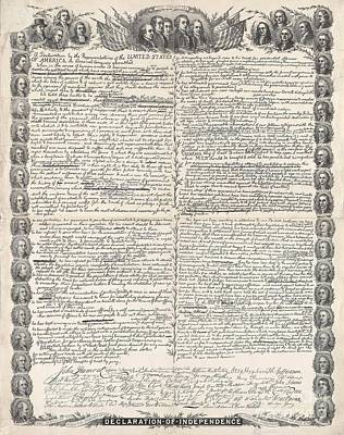 Facsimile Of The Original Draft Of The Declaration Of Independence Print by American School