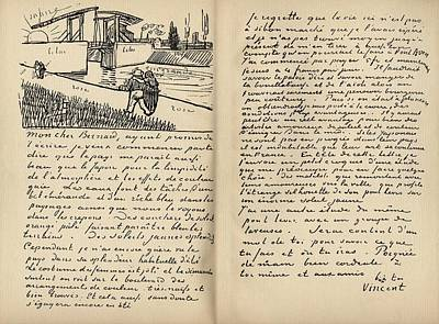 Caligraphy Drawing - Facsimilie Of Letter From Vincent Van by Vintage Design Pics