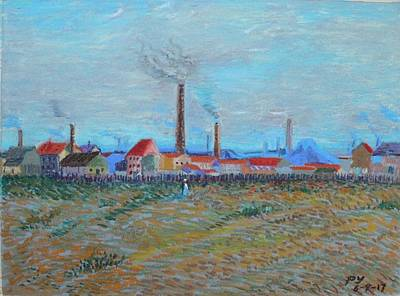 Drawing - Factories At Clichy by Ping Yan