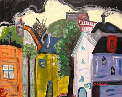 Primitive Raw Art Painting - Factories Crowded At This End Of Town by Mary Carol Williams