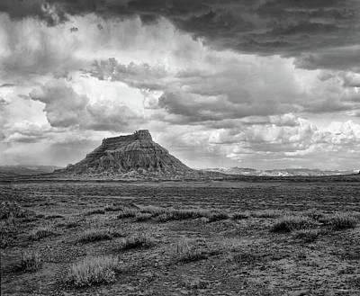 Photograph - Factory Butte - Black White by Paul Breitkreuz