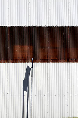 Photograph - Factory Wall And Sign Shadow by Mary Bedy