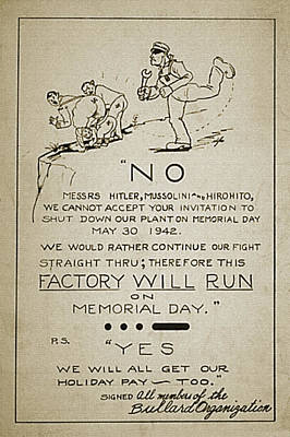 Wwii Propaganda Drawing - Factory Will Run by Vintage Pix