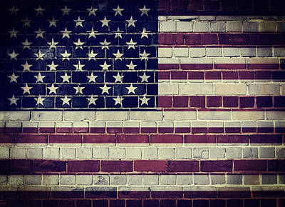 Digital Art - Faded America Flag On A Brick Wall by Steve Ball