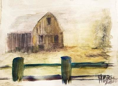 A Sunny Morning Painting - Faded Barn by Caitlin Lodato