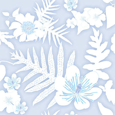 Digital Art - Faded Denim Fern Batik by Karen Dyson