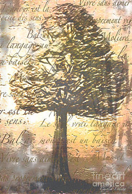 Art Nouveau Style Mixed Media - Faded French Love Quotes Among The Trees by Caitlin Lodato
