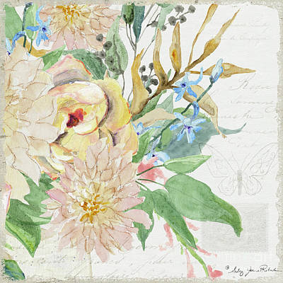 Painting - Faded Glory Chinoiserie - Floral Still Life 4 Blush Rose N Chrysanthemum by Audrey Jeanne Roberts